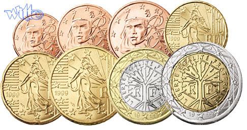 1 Cent 2 Euro 388 2007 Frankreich Kursmünzen Kompl Satz 2007