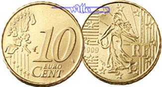 10 Cent 1999 Frankreich Kursmünze 10 Cent Stgl Ma Shops