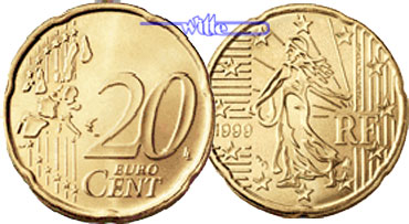 20 Cent 1999 Frankreich Kursmünze 20 Cent Stgl Ma Shops