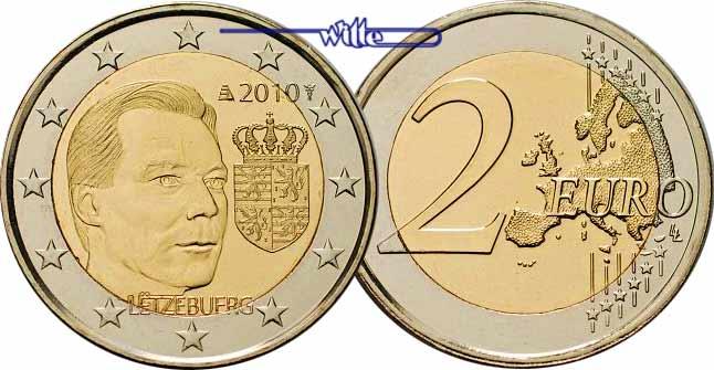 2 euro 2010 luxemburg wappen des gro herzogs henri. Black Bedroom Furniture Sets. Home Design Ideas
