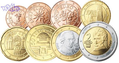 1 Cent 2 Euro 388 2002 österreich Kursmünzen Kompl Satz 2002