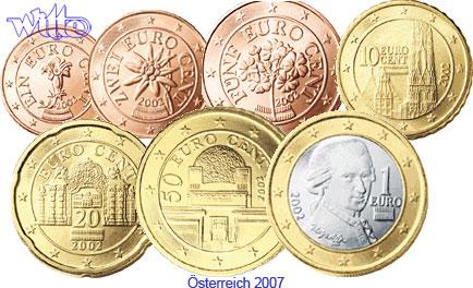 1 Cent 1 Euro 188 2007 österreich Kursmünzen Satz 2007 Ohne 2