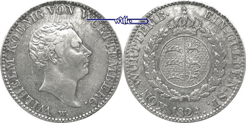 1 Gulden 1824 D Württemberg Wilhelm König Von Württemberg 1816 1864