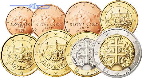 1 Cent 2 Euro 388 Mixsatz2009 Slowakei Preiswerte