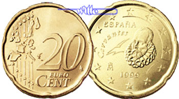 20 Cent 1999 Spanien Kursmünze 20 Cent Stgl Ma Shops