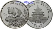 China 10 Yuan Panda Bären, 1 oz, Silber, große Jahreszahl, RAR