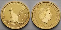 Australien 5 Dollar 1/20 oz 1,57g fein 14 mm Ø Känguruh mit Jungtier im Beutel vor Nationalflagge,  1/20 oz, inkl. orig. Kapsel