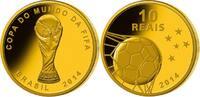 Brasilien 10 Reais  3,96g  fein  16 mm Ø Fußball Weltmeisterschaft 2014 in Brasilien, inkl. orig. FIFA Holzbox,RAR