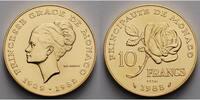 Monako 10 Francs,  19,45g  fein  26,00 mm Ø Monaco -Grace Kelly-Essais- SELTEN-RAR mit Kapsel & orig.Etui & Zertifikat