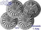 Deutschland, Bundesrepublik 10 DM 1. Ausg. Oly. Spirale Deutschland, kompl. Satz (D/F/G/J)