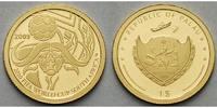 Palau 1 US-Dollar 0,5g fein 11 mm Ø Fußball Weltmeisterschaft 2010 in Südafrika, inkl. Kapsel mit Zertifikat