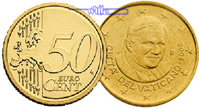 50 Cent 2013 Vatikan Kursmünze 50 Cent Letzte Münze Papst Benedikt Xvi Stgl