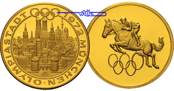 2950g Fein 34mm ø 1972 Deutschland Medaille In Gold Olympiastadt