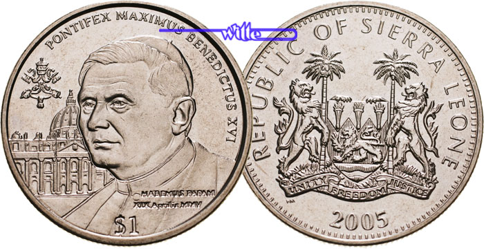 1 Dollar 2005 Sierra Leone Papst Benedikt Xvi 2005 Stgl Ma Shops