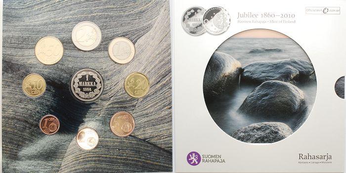 388 2010 Finnland Jubiläumssatz150 Jahre Münze Finnland Mit