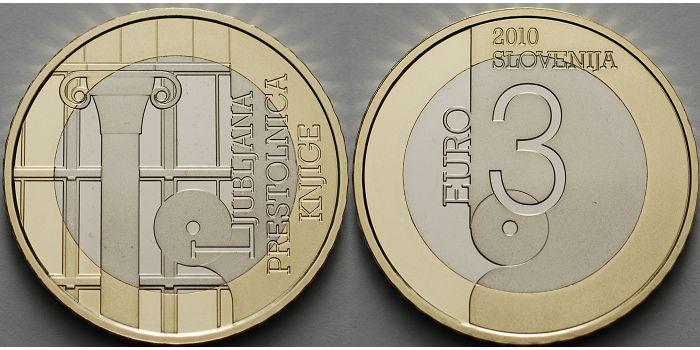 3 Euro 2010 Slowenien Ljubljana Weltbuchhauptstadt Dritte 3 Euro