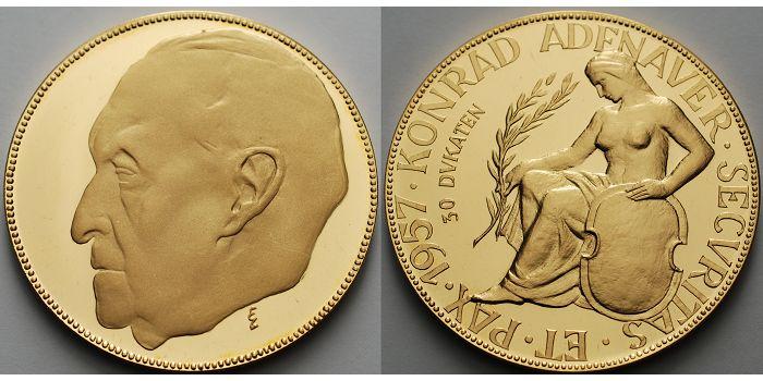 10323 Fein 50mm ø 1957 Deutschland Goldmedaille Konrad Adenauer