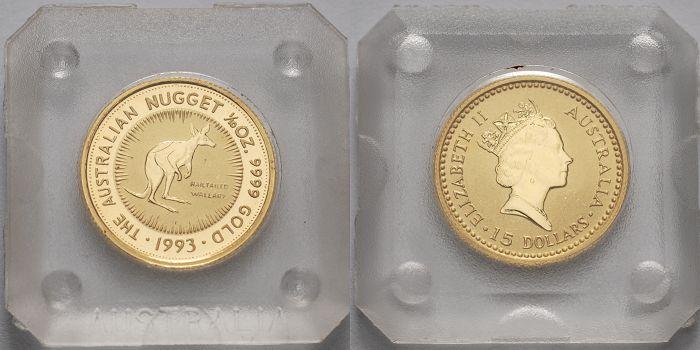 15 Dollar, 3,11g fein 1993 Australien 1/10 oz. Nagelschwanz Känguruh/ Kurznagel Känguruh / Nugget, ohne Münzzeichen Anlagegold