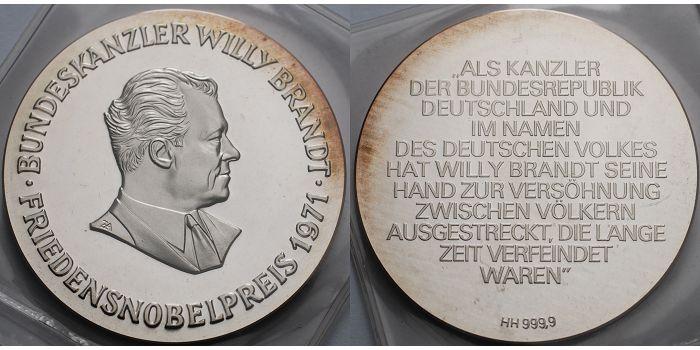 50,29g fein50mm Ø 1971 Deutschland Medaille Bundeskanzler Willy Brandt, Friedensnobelpreis 1971,orig. eingeschweißt Patina AnlagesilberPP