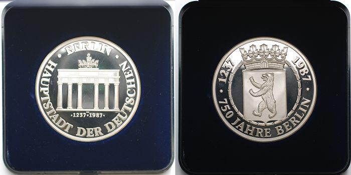 3428gbr Fein Br50mm ø 1987 Berlin Medaille Aus Silber 750