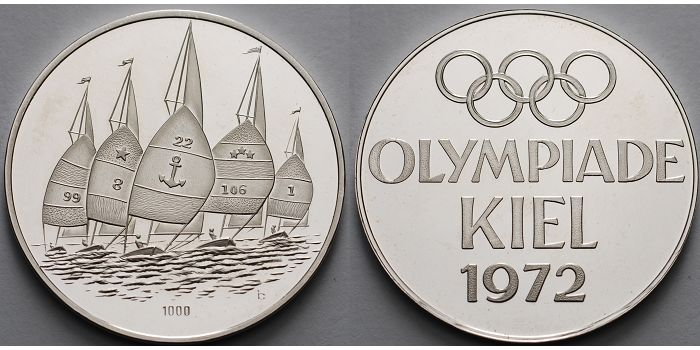1545g Feinbr 35mm ø 1972 Deutschland Medaille In Silber Olympiade