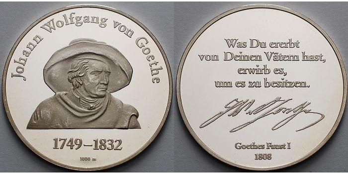 1505g Feinbr38mm ø Deutschland Medaille In Silber Johann Wolfgang