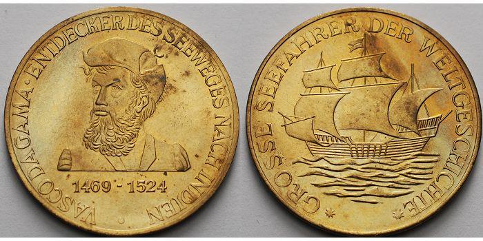 30 mm Ø Deutschland Medaille, Große Seefahrer der Weltgeschichte, Vasco da Gama vz.-stgl