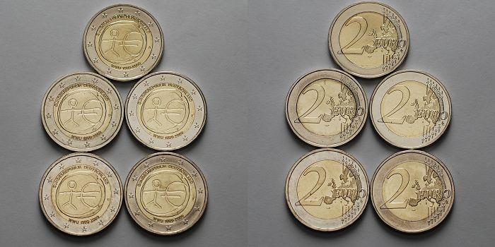 2 Eurobr 5x 2009 Adfgj Deutschland 10 Jahre Europäische