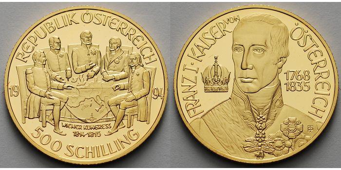 500 Schilling 8g Fein 22mm ø 1994 österreich Wiener Kongreß Im Org Etui Zertifikat Gold Pp
