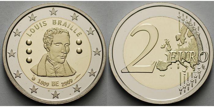 2 Euro 2009 Belgien 200 Geburtstag Louis Braille 1809 2009 Ppim