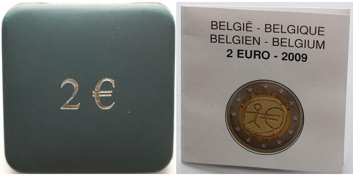 2 Euro 2009 Belgien 10 Jahre Europäische Wirtschafts- und Währungsunion PPim Etui
