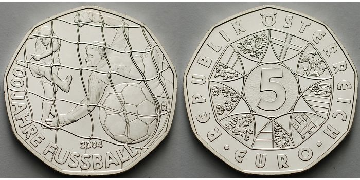5 Euro 2004 österreich 100 Jahre Fußball Vz Ma Shops