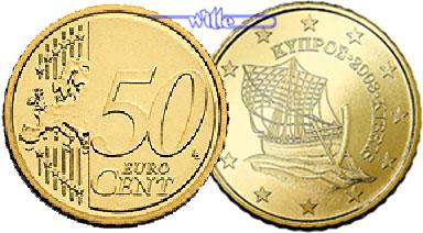 50 Cent 2008 Zypern Kursmünze 50 Cent Stgl Ma Shops