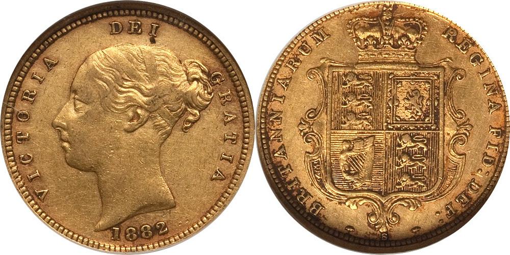Half Sovereign 1882 Australia Australia 1882-S Victoria gold Half Sovereign NGC XF-45 XF-45