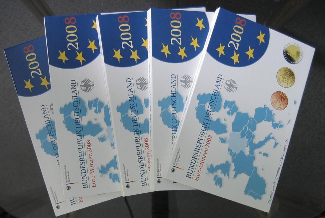 29,40€ 2008 Deutschland Kursmünzensätze mit 2 Euro Gedenkmünze Hamburger Michel PP