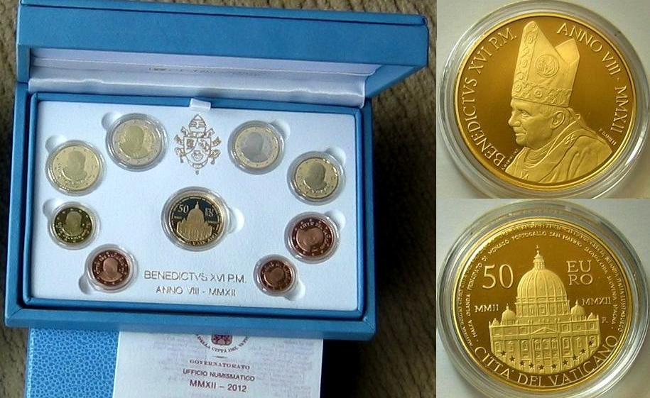 53,88€ 2012 Vatikan Original Kursmünzensatz mit Gedenkmünze 10 Jahre Euro in Gold PP