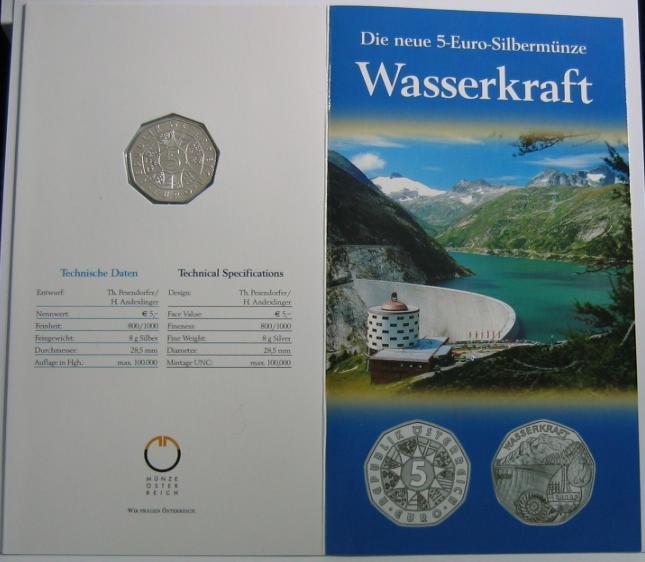 5 Euro 2003 Österreich Wasserkraft im Blister handgehoben