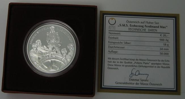 20 Euro 2004 Österreich S.M.S. Erzherzog Ferdinand Max im Etui mit Zertifikat PP - PROOF