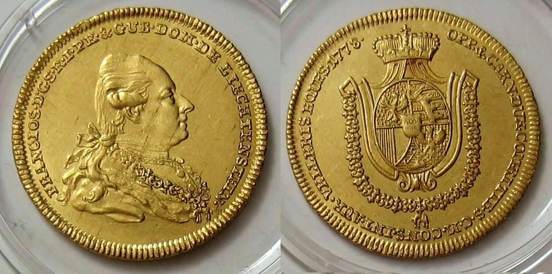 Dukat 1778 Liechtenstein Franz Josef I. ORIGINAL ! RR vz