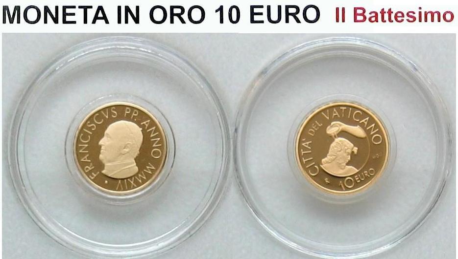 10,00€ 2014 Vatikan Die Taufe Goldmünze PP