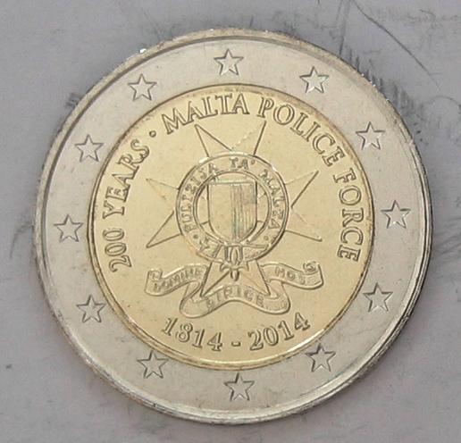 € 2 2014 Malta Gedenkmünze 200 Jahre Polizei Malta stgl