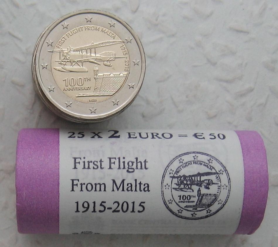 € 50 2015 Malta Gedenkmünze 100 Jahre Erster Flug auf Malta - SICHTROLLE stgl