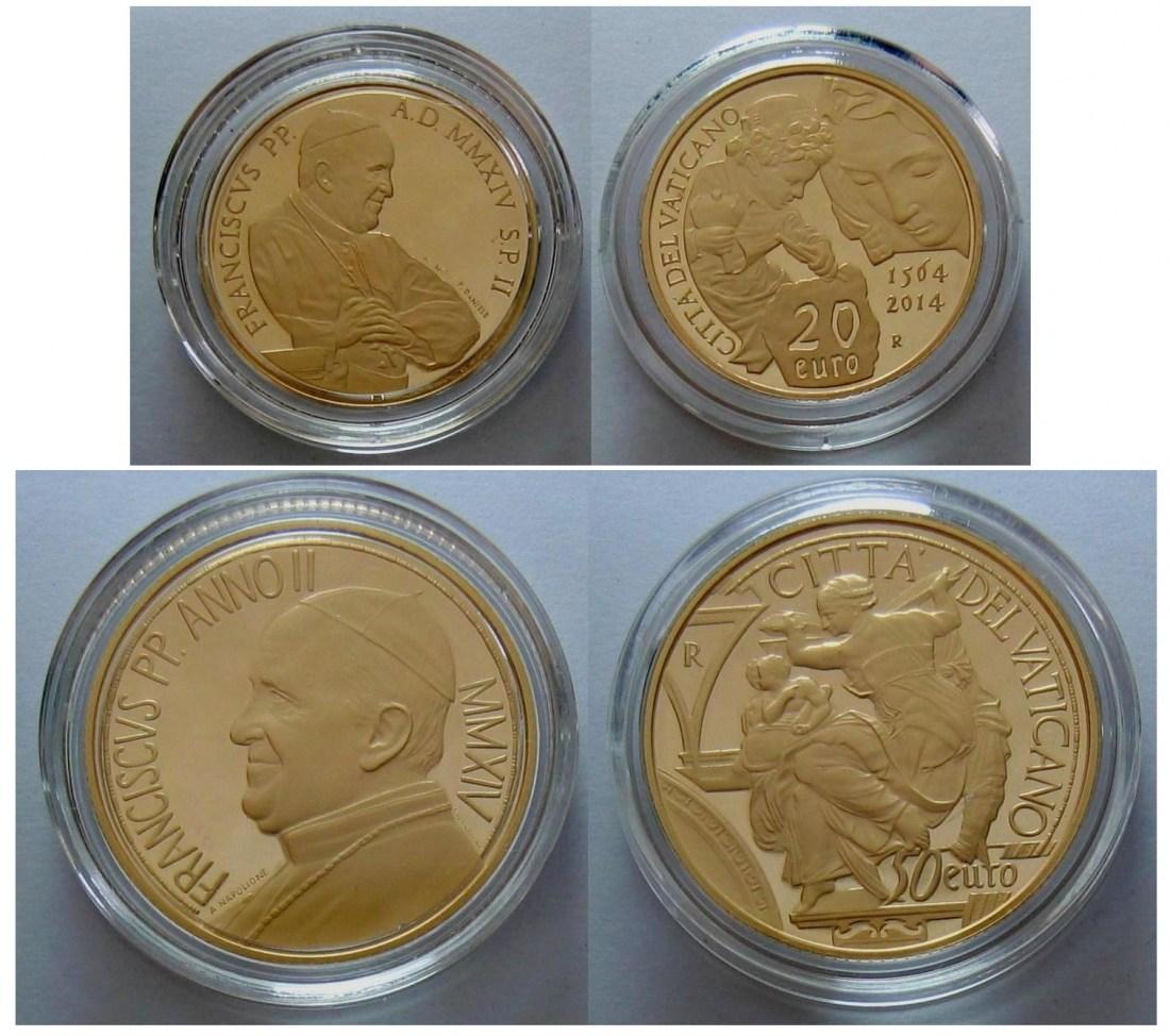 70,00€ 2014 Vatikan 2014 - 20 + 50 Euro Gold - 450. Todestag Michelangelo PP