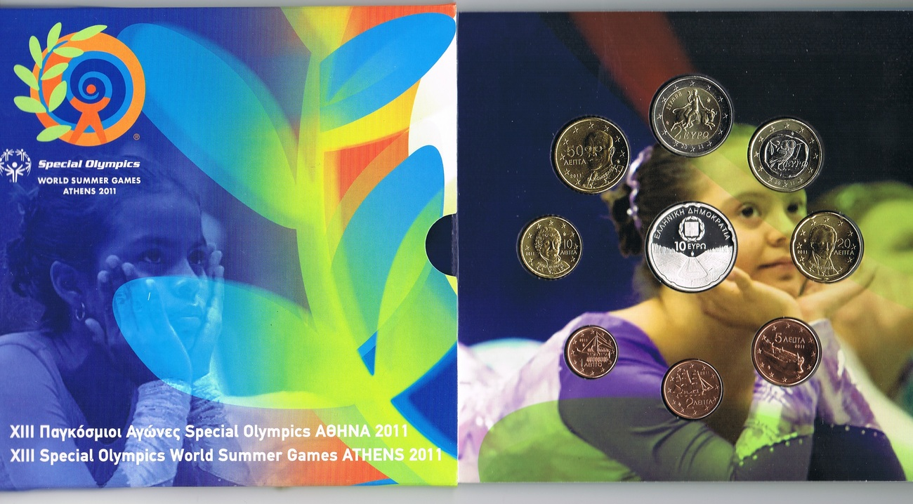 13,88 € 2011 Griechenland Original Kursmünzensatz - Special Olympics Athen Kalimarmaro Stadion stgl