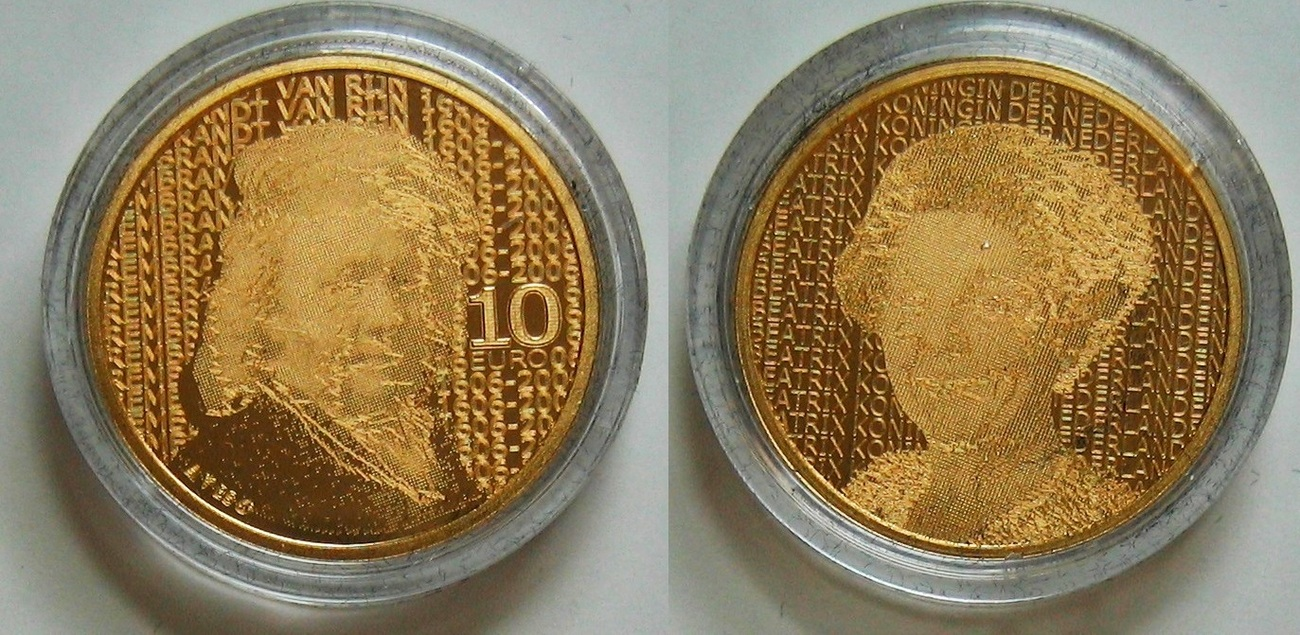 10€ 2006 Niederlande 10€ Gold 400. Geburtstag von Rembrandt PP - Proof