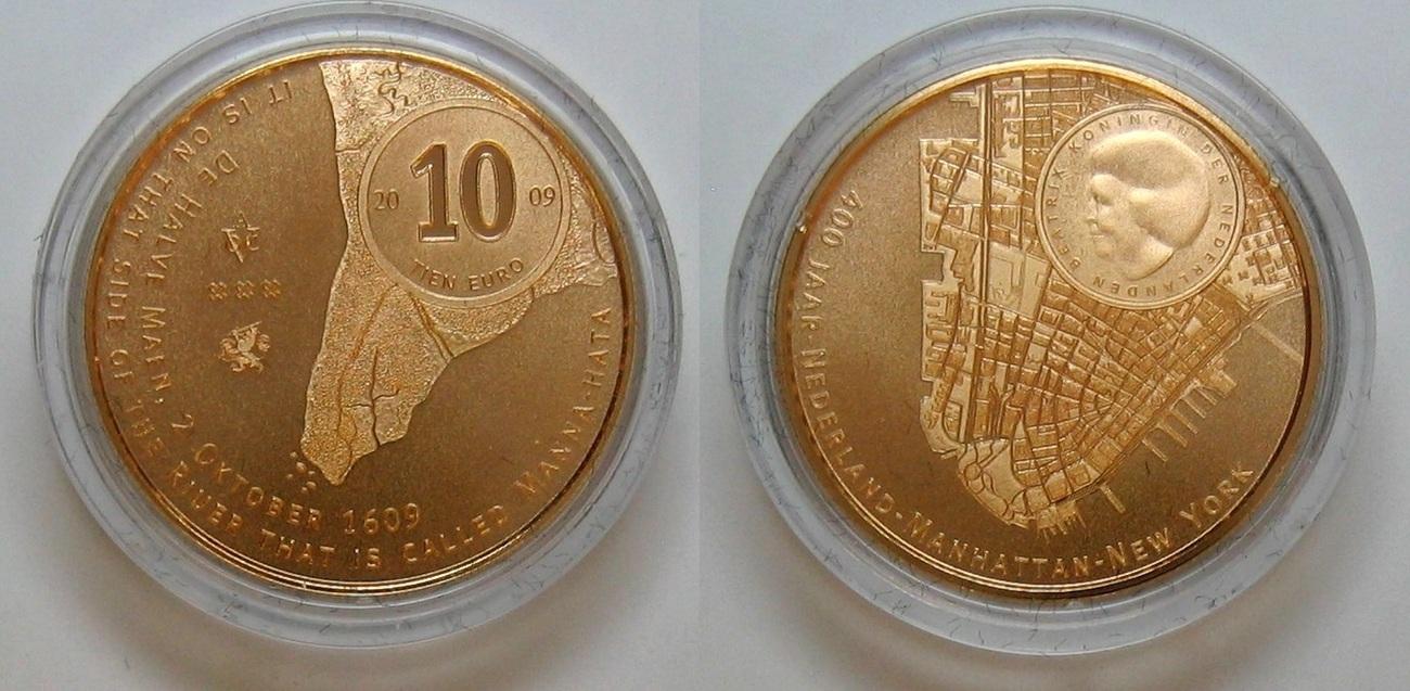 10€ 2009 Niederlande 400. Jahrestag der Ankunft von Henry Hudson in Manhattan PP - Proof