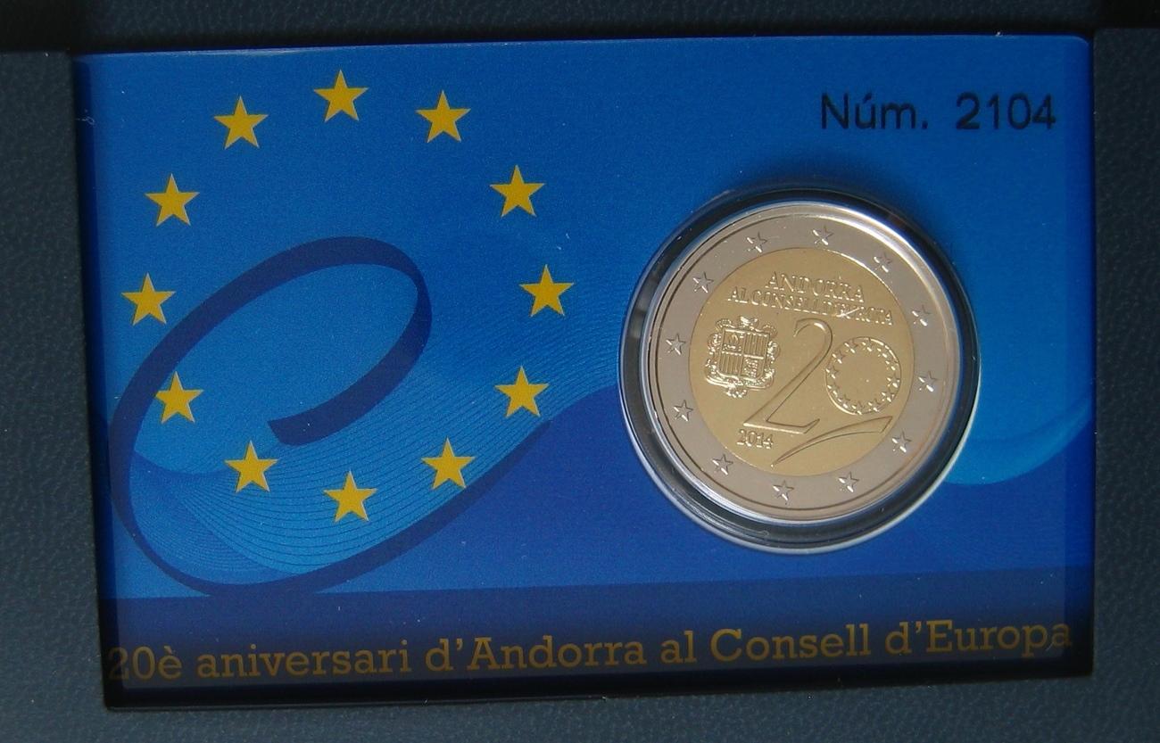2,00 € 2014 Andorra 20 JAHRE BEITRITT EUROPARAT PP-Proof