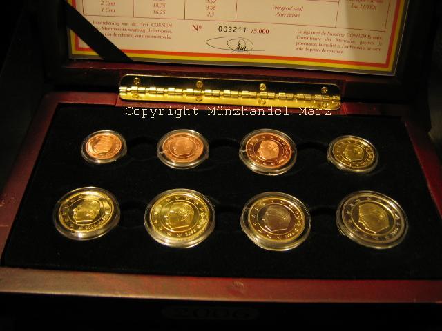 3,88 € 2006 Belgien Original Kursmünzensatz der belgischen Münze PP