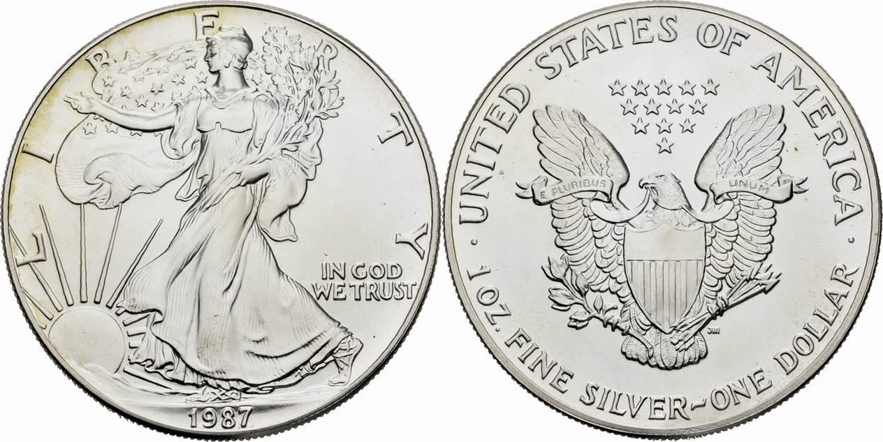 1 Dollar 1987 Usa Usa 1 1987 Liberty Walking Left 1oz