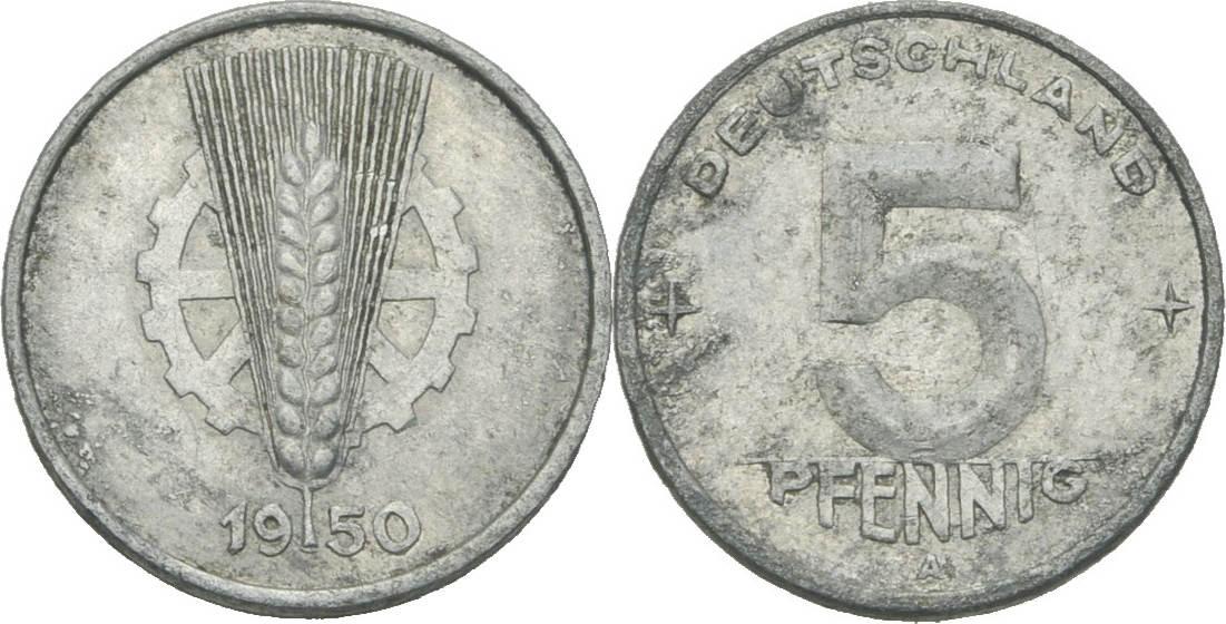 5 Pfennig 1950 Ddr Ddr Deutschland 5 Pfennig 1950 A Berlin Aluminium